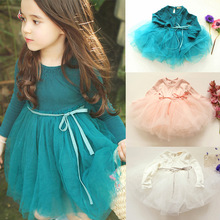 Autumn winter Girls Dress 2017 Casual Long Sleeves Cotton Mesh Tutu Kids Dresses For Girl Autumn Clothing Cute Princess Dress