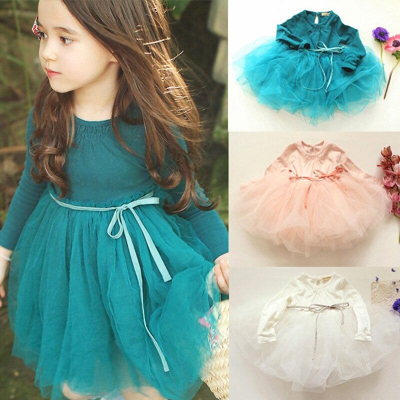 d170c8680 Otoño Invierno niñas vestido 2017 Casual mangas largas algodón malla tutú niños  vestidos para niña otoño ropa lindo vestido de princesa en Vestidos de Mamá  ...