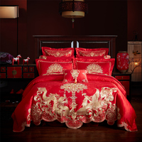 Luxery embroidery wedding 4/6/9 Pcs Bedding Set satin jacquard Bedclothes wedding red Bed Linens Duvet Cover Set Bedspread