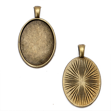 10pcs/lot Antique Bronze Metal Cabochon 18x25mm Oval Cabochon Settings Tray Pendant Bezel Blanks Jewelry Findings
