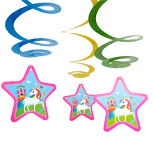 6pcs/pack Happy Birthday Events Party Kids Girls Favors Lovely Unicorn Theme Decorations Baby Shower DIY Ceiling Hanging Spiral