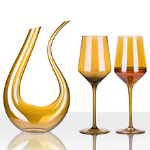 Lead-free crystal glass wine electroplated golden champagne glasses Goblet U-shaped decanter Bar Hotel party Drinkware
