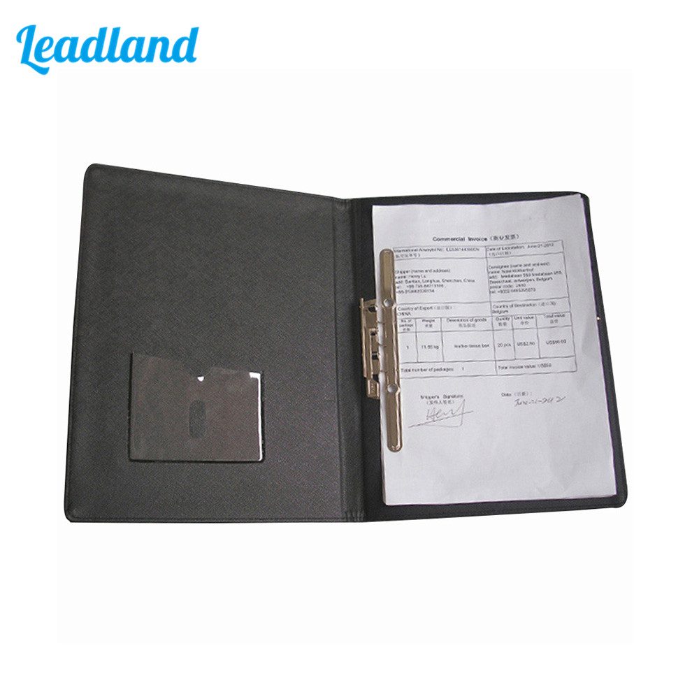 A4 PU Leather Business Contract Signature Clip Folder Holder File Folder For Office Supplies Black 1155 thesocial contract