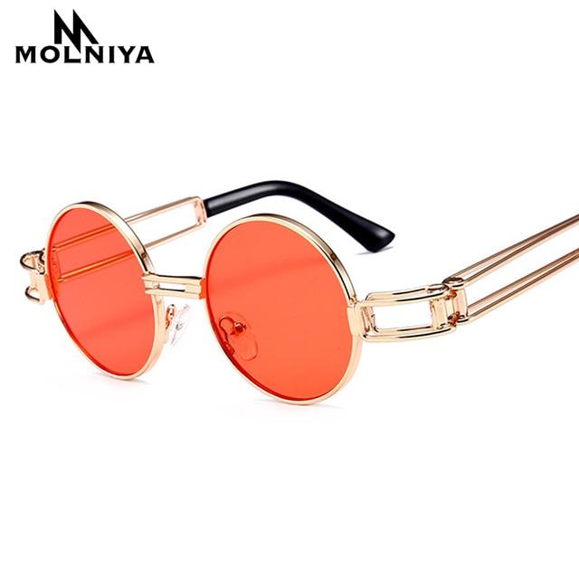 MOLNIYA Baru Kecil Putaran Sunglasses Pria Retro Merah Kuning 2018 Emas  Bingkai Steampunk Putaran Logam Kacamata decc4ba0d0