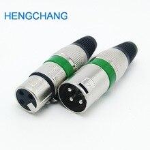 3 Pin XLR dişi + erkek fiş 3 kutuplu XLR soket fiş mikrofon konektörü yeşil renk 10 adet/grup