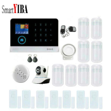 SmartYIBA RFID WIFI GSM SMS Home Alarm System Network Security Camera Alarm Kit Smoke Fire Alarm