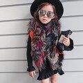 Детский жилет девушки мех цвет смеси рукавов пальто новый 2016 зимняя мода меховой жилет короткие девушки