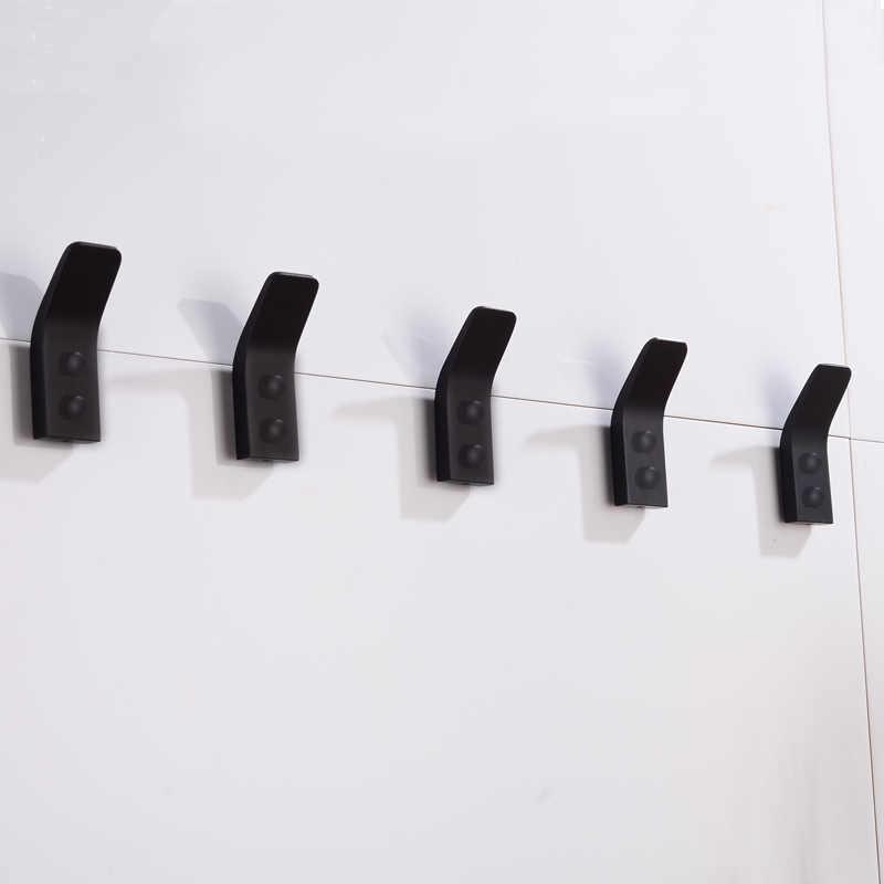 Wieszaki czarny haczyk do łazienki na ręczniki dekoracja ścienna wieszak na płaszcz wieszaki na ubrania aluminiowe akcesoria łazienkowe