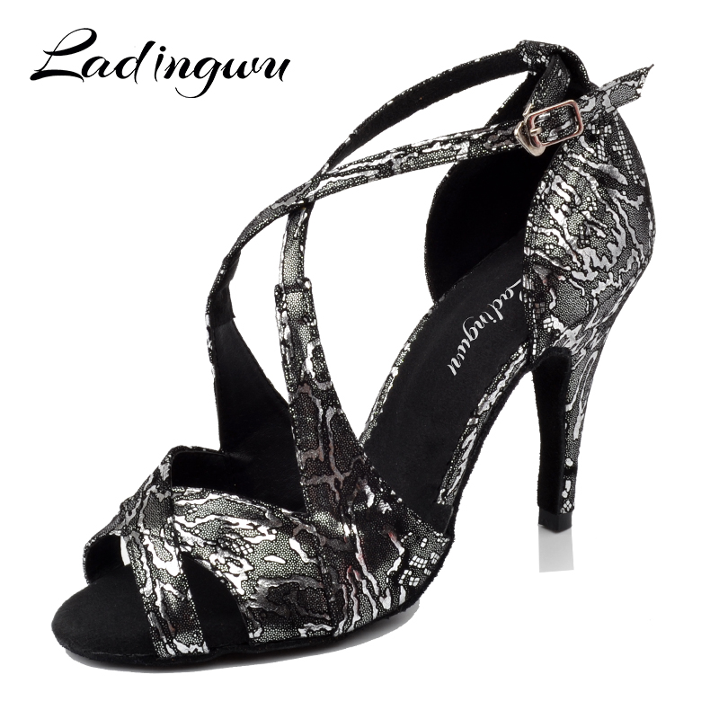 Ladingwu New Brands Dance Shoes For Women Salsa Dance Sandals Flannel Ballroom Party Tango Dancing Shoes Black White Heels 10cm