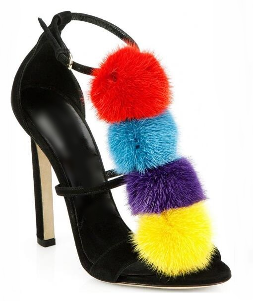 Mixed Colors Pom Pom Decor Women Sandals Cut out Ankle Strap Peep Toe Ladies Wedding Shoes Bride Black Suede Gladiator Sandals in High Heels from Shoes