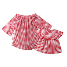 Summer Family Clothes Dress Mother Daughter Plaid Sundress Mommy And me Women Girls Short Dresses