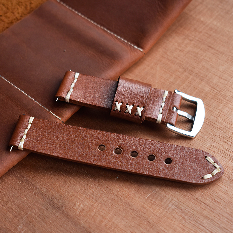 22mm Watch Band Genuine Leather Watch Strap Brown Color Aircraft Buckle Hand-stitched Wax Line Wristban #C