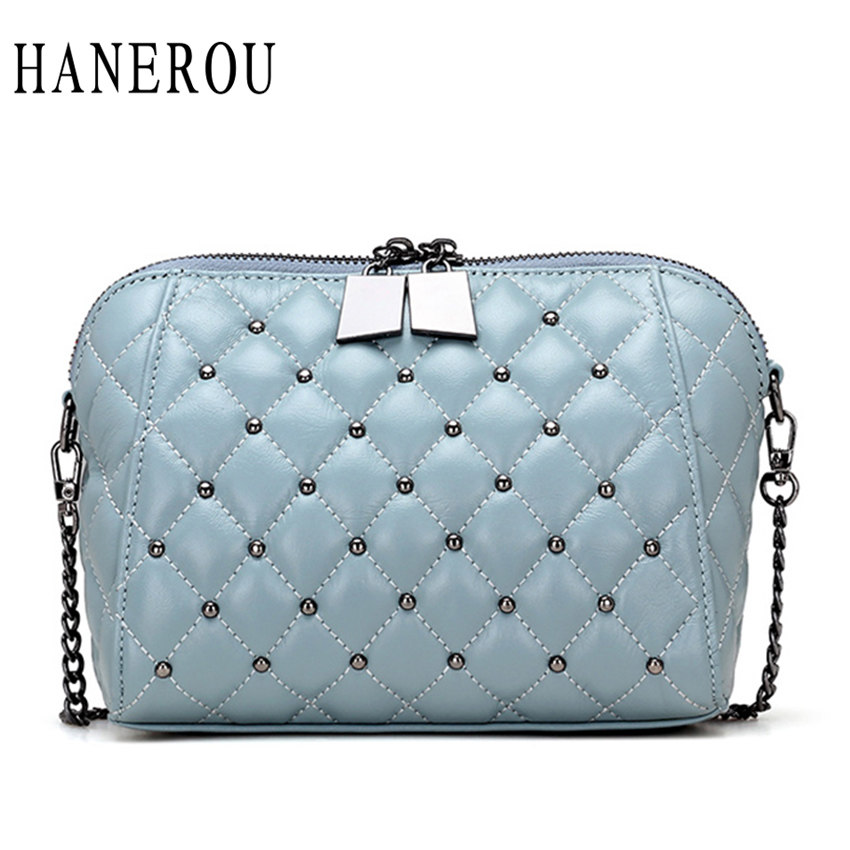 Diamond Lattice Shell Bag Rivet Women Genuine Leather Bags Women Messenger Bags Fashion Chains Crossbody Bag For Women Sac Femme hmily genuine leather crossbody bag female diamond lattice messenger bag luxury socialite daily bag chaibs style women bag