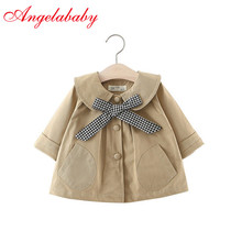 Girls spring solid color plaid bow tie trench baby kids fash