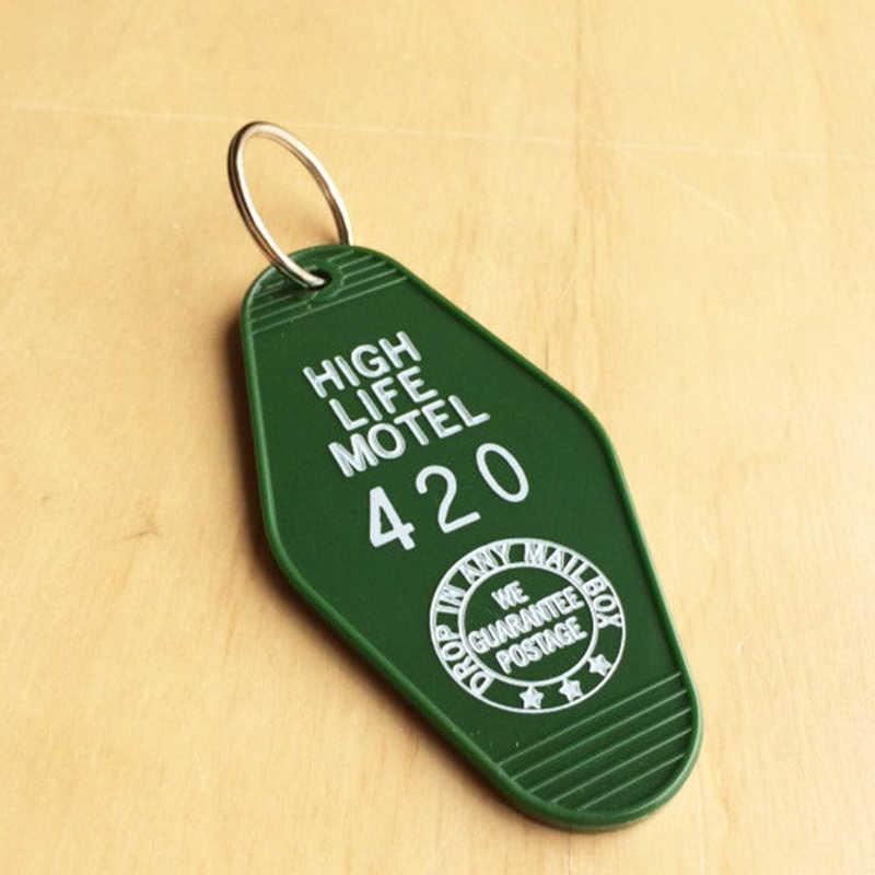 سلسلة مفاتيح لعام 420 ، سلسلة مفاتيح للفنادق ، أعشاب ، عتيقة ، ريترو ، سلسلة مفاتيح للفنادق ، حلقة مفاتيح الموتيل ، موتيل هاي لايف