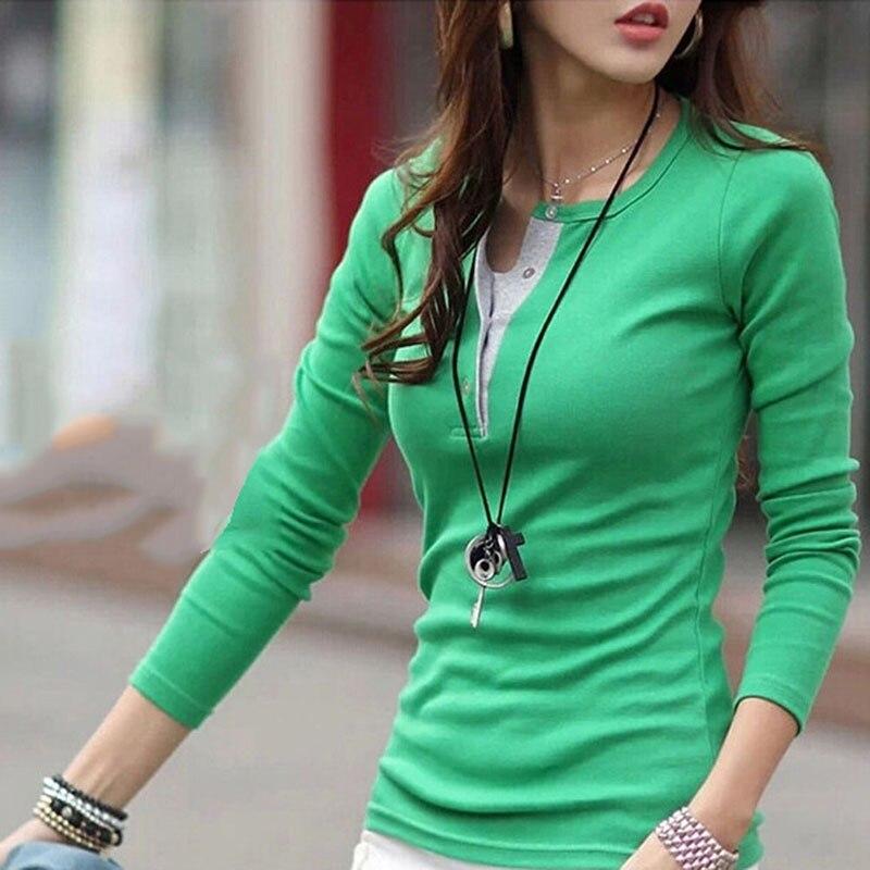Korean Women Long Sleeve Button Cotton T-Shirts Casual Slim Tops