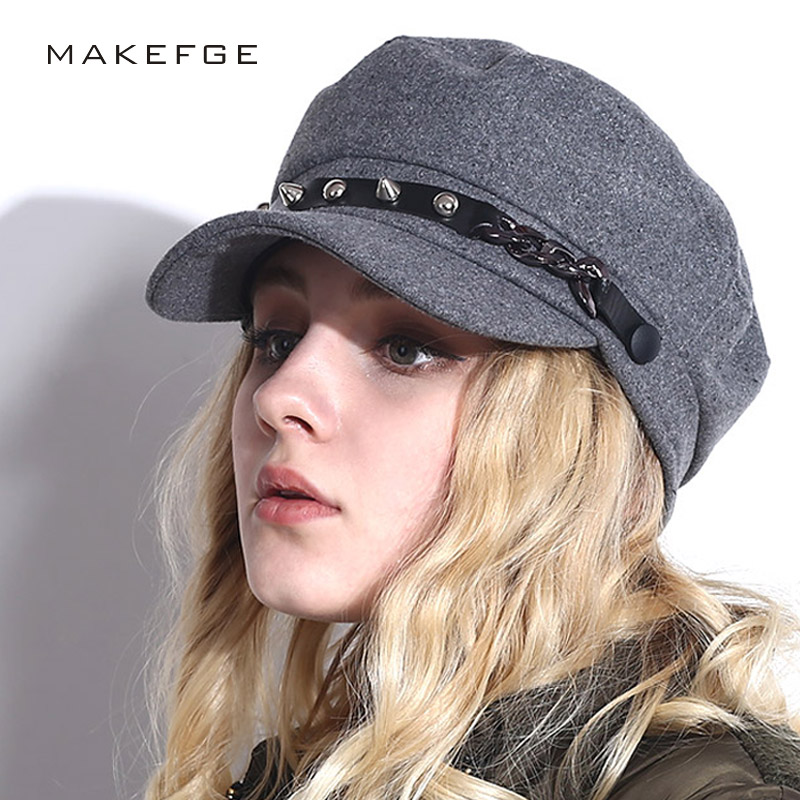 spring   cap   for women Hats For Women Octagonal   Cap   Wool Button   Baseball     Caps   Sun Visor Hat Gorras Casquette Touca Black Casual