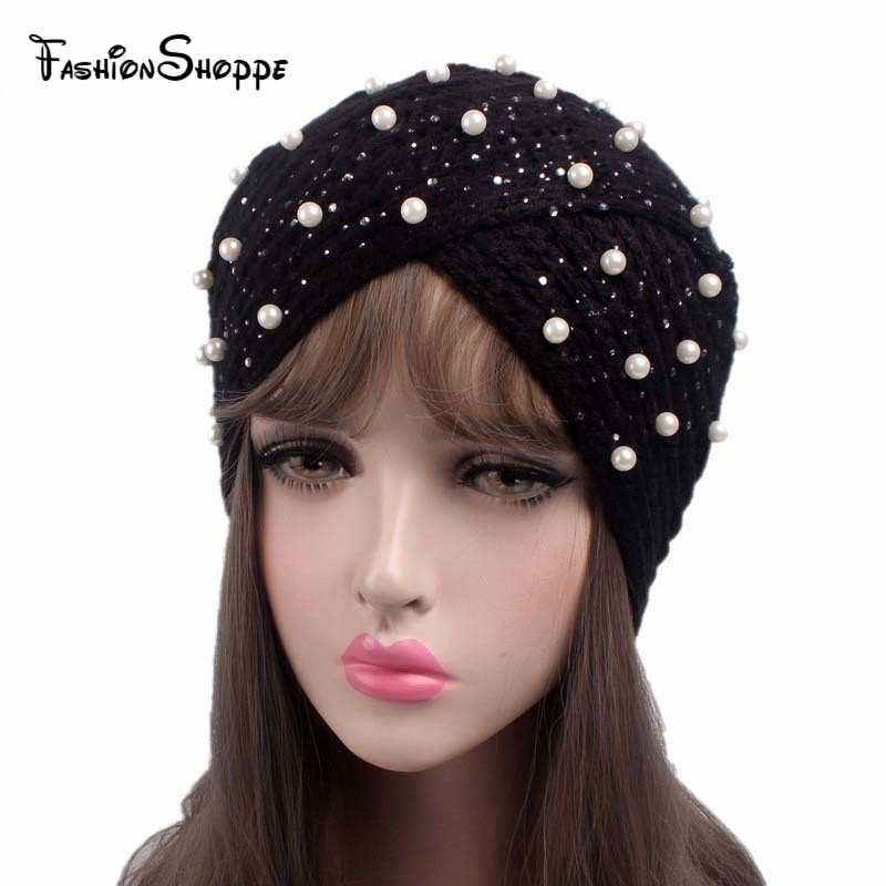 Women s Knitted Beanie Turban Hat Headband Crochet Headwrap Beaded Jewel Winter  Warm Turban Muslim Hijab YS262 c42ce8ba6125
