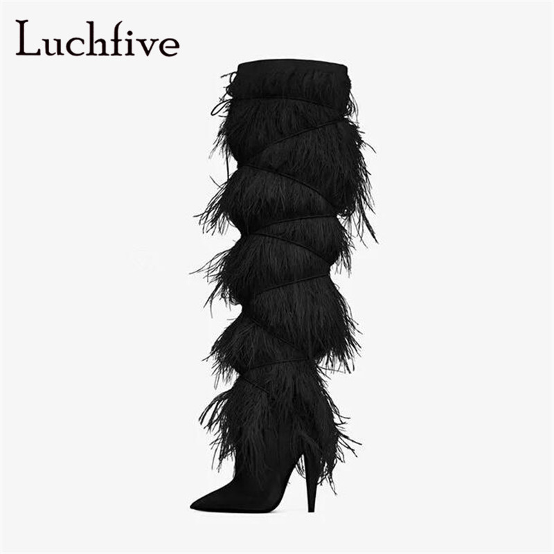 Kid suede fringe long boots for women sexy pointed toe thin high heels knee-high boots black blue white fur feather shoes women