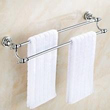 Chrome Polished Bathroom Towel Double Bar Rail Rack Holder Wall Mounted Storage Hotel KD603