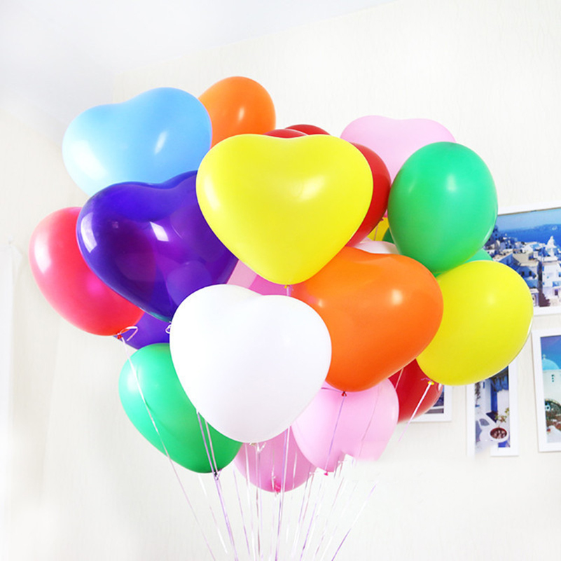 100Pcs Inflatable Latex Heart Shaped Baloon 2g Air Balloons Toys Kids Toys Weddi