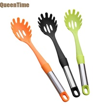 Queentime Nylon Pasta Scoop Server Spaghetti Serving Fork Tongs Spoon Shape Noodle Measurer Holder Cooking Tools Kitchen Gadgets