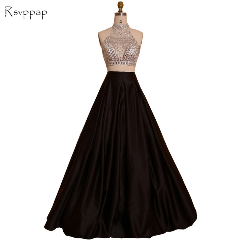 Long   Prom     Dresses   2019 Real Picture High Neck Top Beaded Crystals Floor Length Backless African Black Two Piece   Prom     Dress