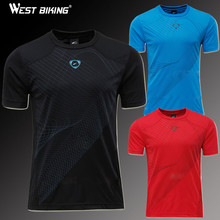 WEST BIKING Slim Fit Workout Shirts Male Sports Fitness Quick Dry T-shirts Men Jersey Running Cycling Short Sleeve Jersey