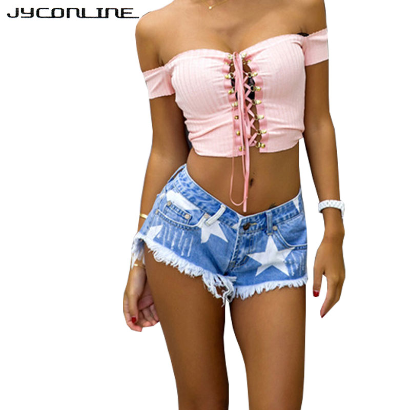 JYConline Stars ბეჭდვითი შორტები ქალთა ჯინსი ზაფხული 2017 Tassels დახვეწილი denim შორტები Feminino დაბალი წელის მოკლე ჯინსი ქალის შარვალი