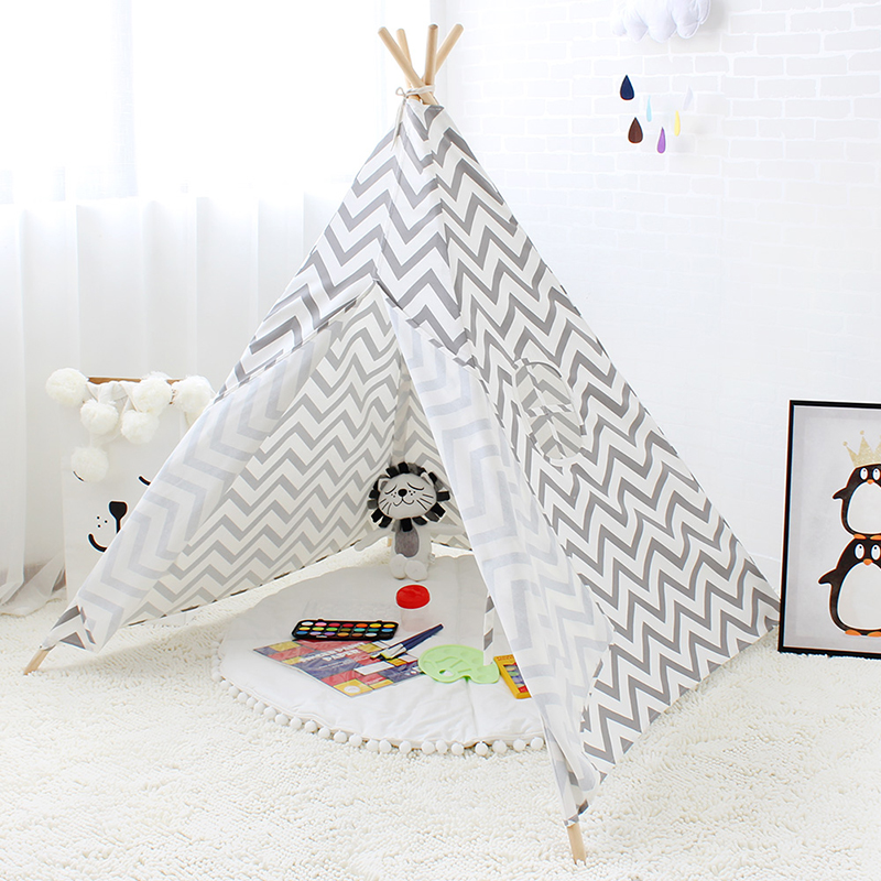 Children Tipi Tent 4 Poles Cotton Canvas Indian Teepee Play Tent For kids Gray Wave Pattern Portable Playhouses For Kids hot sale eco friendly tent for kids cotton canvas toys tent