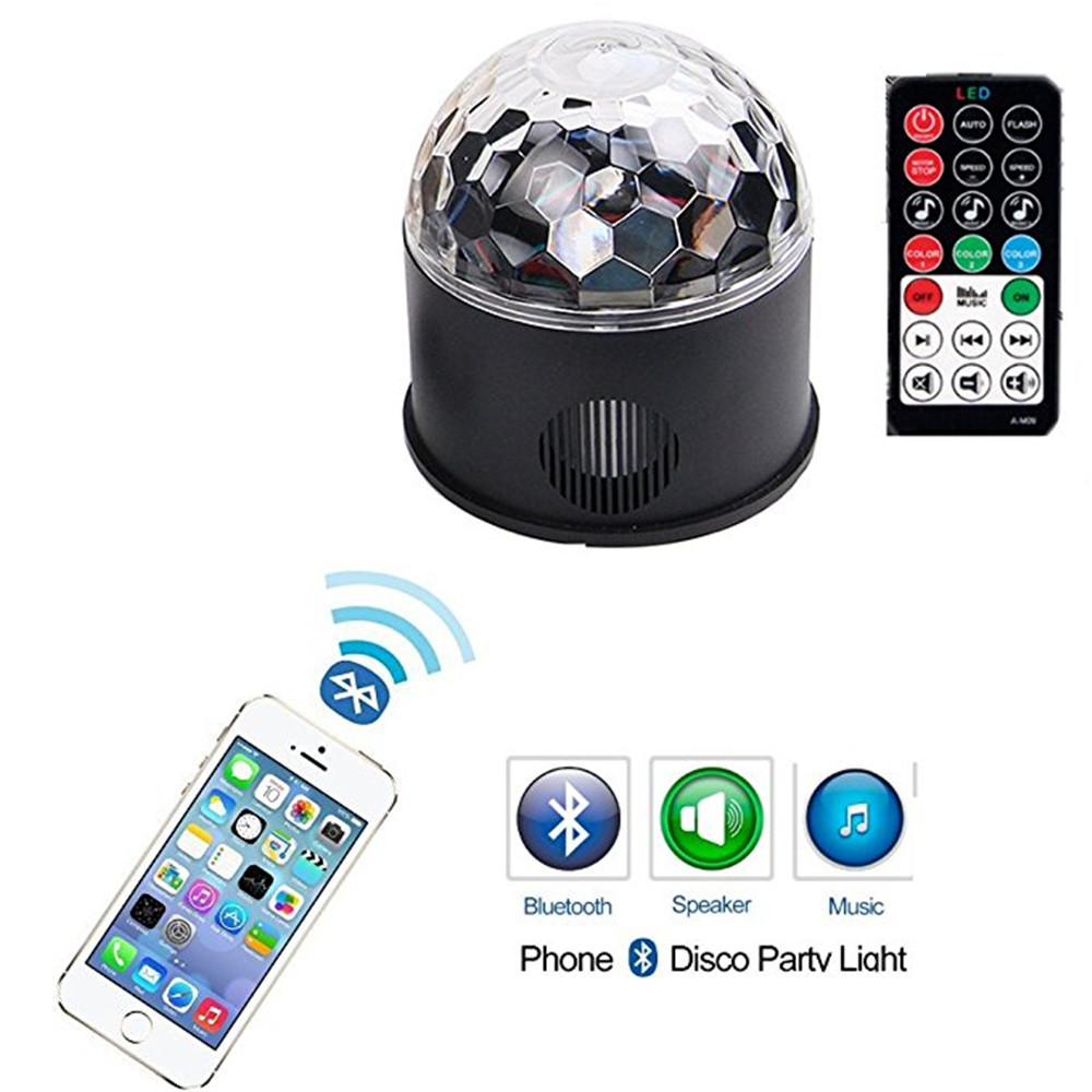 LED Disco Ball Party Lights Strobe Light 9 Color 9W Sound Activated DJ Lights Stage Lights Wireless Phone Connection with Remote