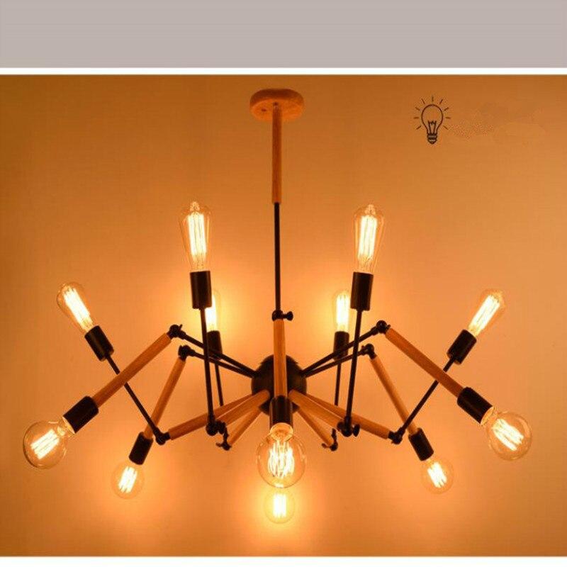 Подвесные светильники деревянная лампа дерево деревянные лампы паук подвесные скандинавские лампы Современный свет железная столовая Лоф
