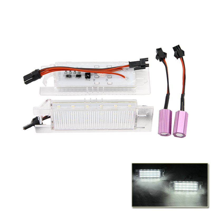 Canbus Error Free Led Number License Plate Lights Lamp Xenon White For Fiat Grande Punto Van 188 188AX Seicento Multipla Marea 2x xenon white car styling canbus error emitter led t15 360 5050smd 921 912 w16w led backup parking reverse lights car led