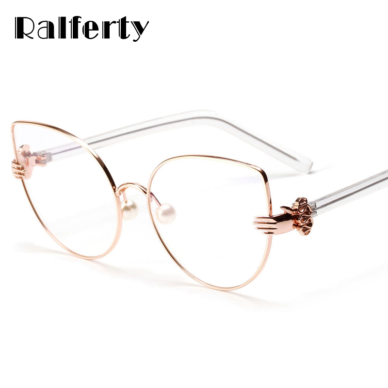Ralferty Vintage Cat Eye Glasses Frames Women Gold Metal Rims Optical Frames Retro Eyeglasses Transparent Glasses Oculos A1113