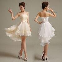 יוקרה גבוהה נמוכה חתונת שמלות תחרה לבנה תחרה עד Vestido אירוע מיוחד דה פסטה קצרה שפתוחה ארוכות חזרה שמלות כלה שמלות