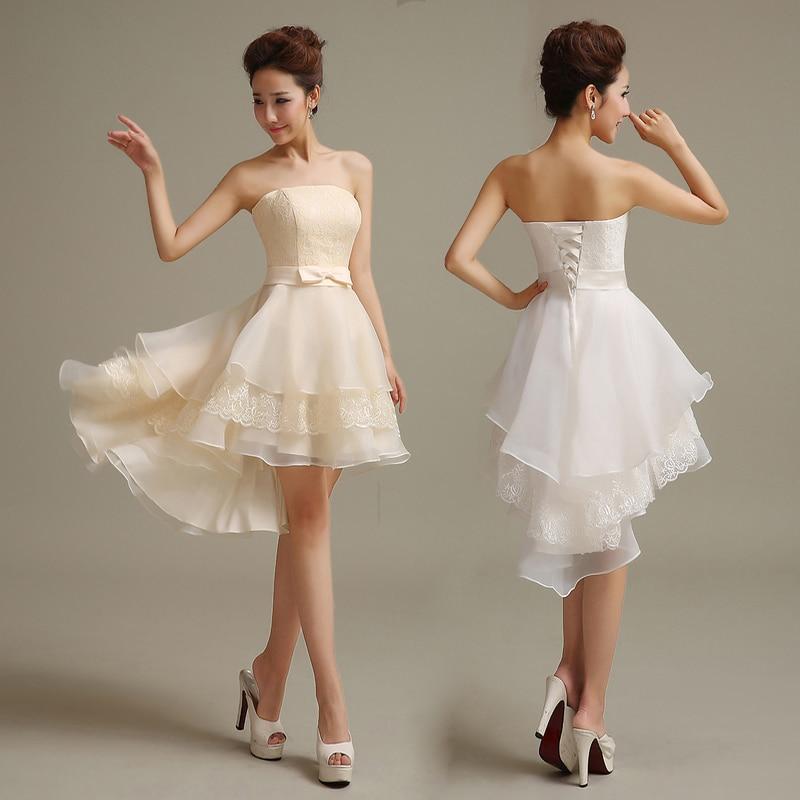 High Low Wedding Dresses Luxury Lace White Lace Up Vestido De Festa Short Front Long Back