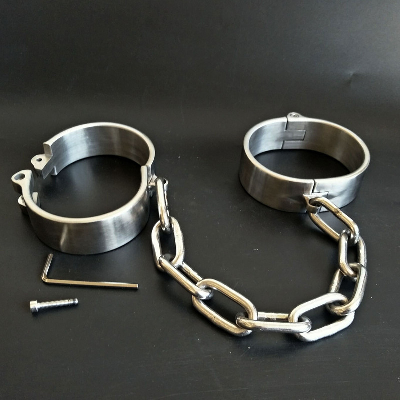 Stainless Steel Handcuffs BDSM Bondage Set Chastity Ankle Cuffs <font><b>Adult</b></font> <font><b>Game</b></font> Restraints Slave Erotic <font><b>Adult</b></font> <font><b>Sex</b></font> <font><b>Toys</b></font> <font><b>for</b></font> <font><b>Couples</b></font> image