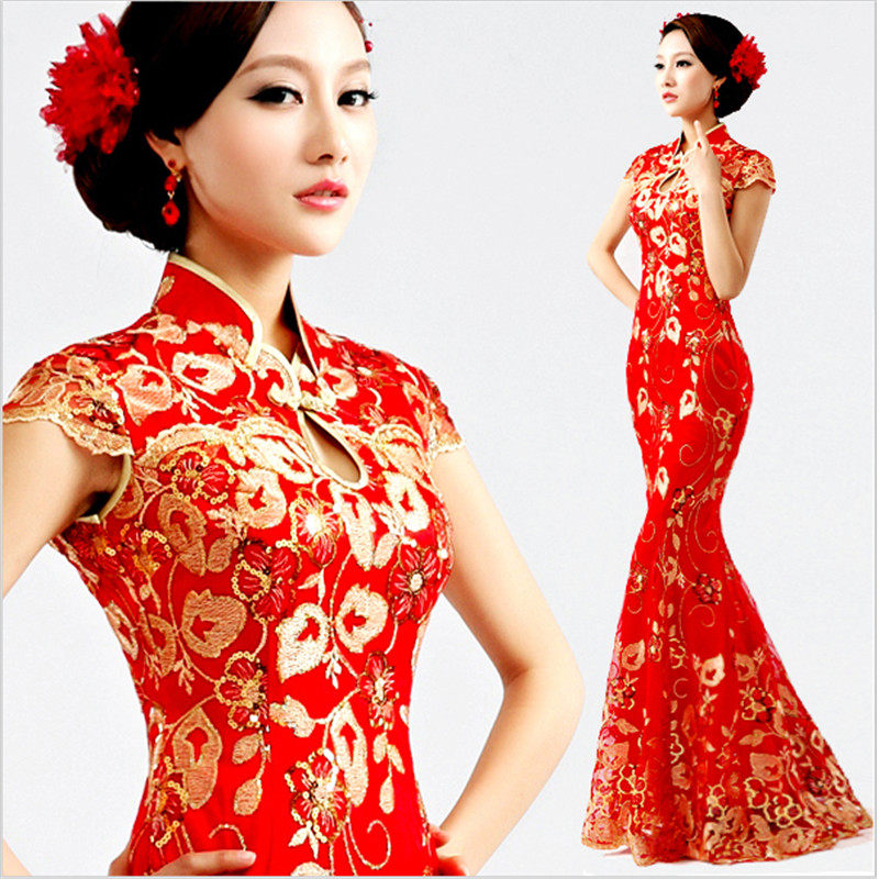 Red Women vintage Cheongsam Sexy Qipao lace fishtail long dress Party gown  Chinese style evening dresses 953116999a77