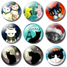 Lovely Cat 30 MM Fridge Magnet Funny Black Moon Paris Lover Glass Dome Magnetic Refrigerator Stickers Note Holder Home Decor