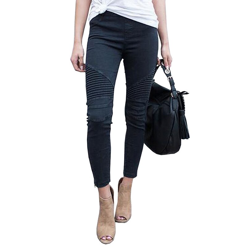 Women Long Jeans Pleated Thin Buttocks High Elastic Tight Legs Zipper Jeans Female Casual Solid Jeans Autumn in Jeans from Women 39 s Clothing