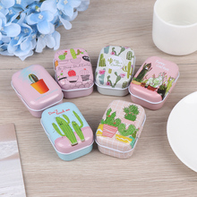 Colorful Mini Tin Box Sealed Jar Packing Boxes Jewelry Candy Small Storage Cans Coin Earrings, Headphones Cactus