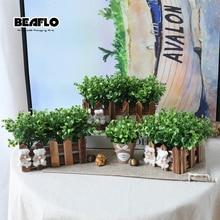Aukštos kokybės 1 komplektas Dirbtiniai augalai Žolė su vaza Potted dirbtinio apdailos šventiniam vakarėliams reikmenys B3102