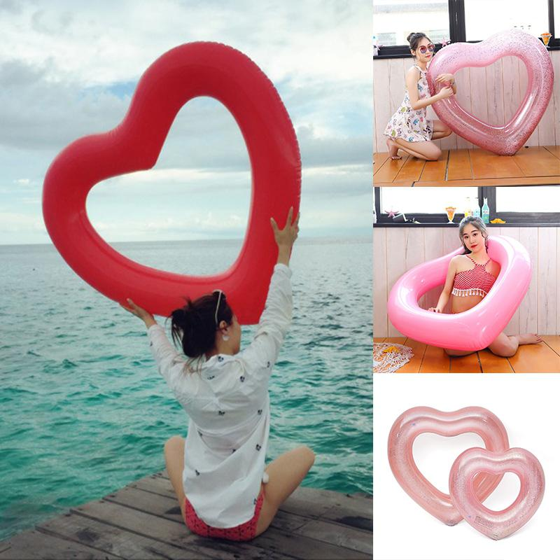 Solid Color Loving Heart Shape Thicken Inflatable Swimming Ring Outdoor Water Playing Circle Floating Swim Rings Pool Toys