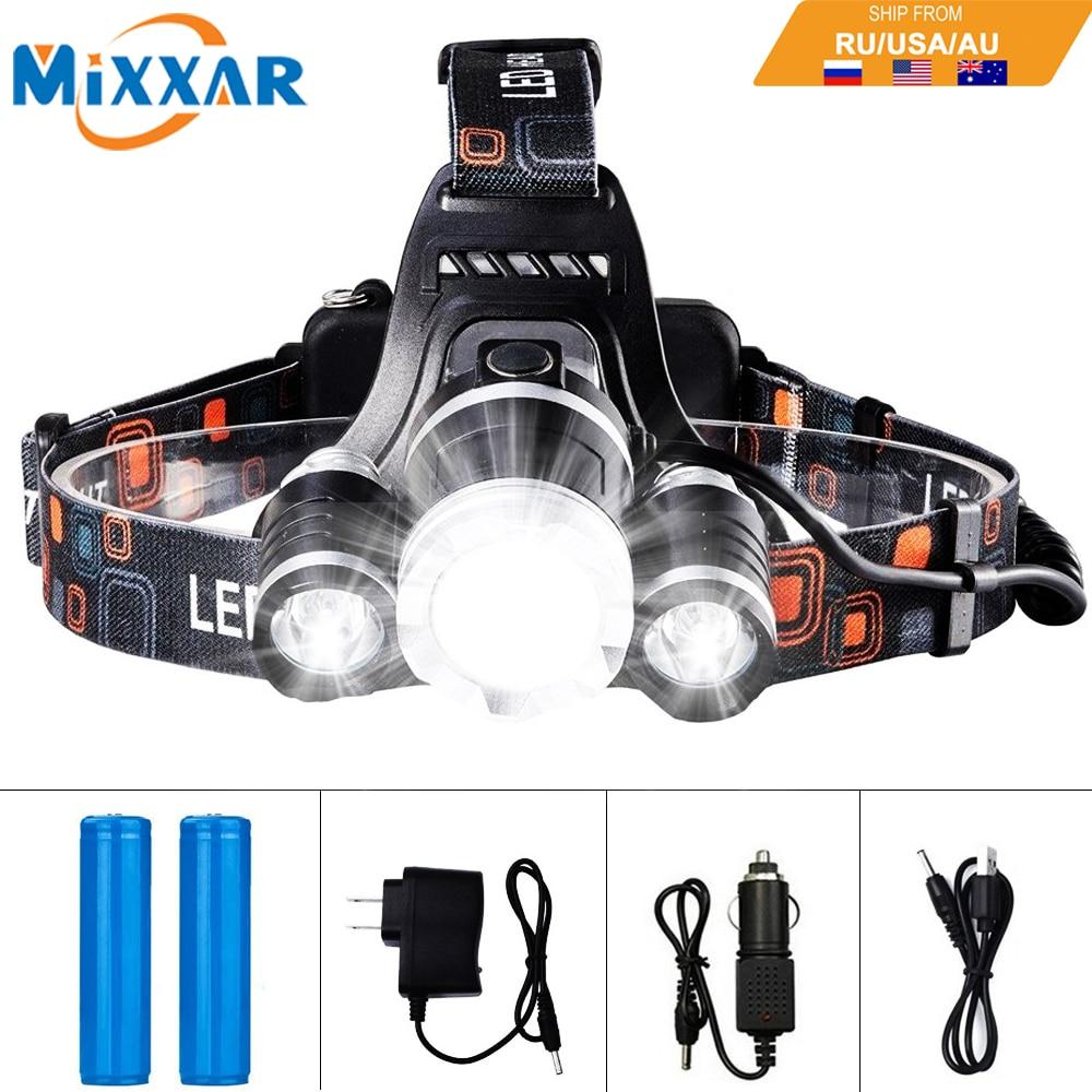 EZK20 LED faro 13000LM T6 R5 pesca faro linterna con cargador de pilas recargables coche cargador de pared y Cable USB