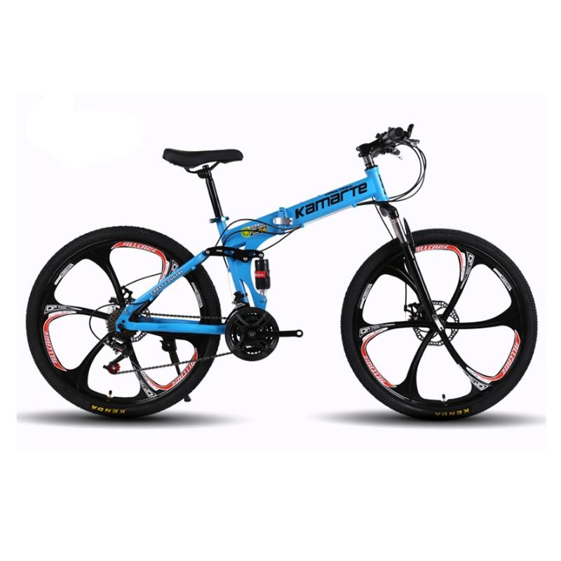 26inch folding mountain bike 21 speed double disc brakes bicycle 6 knife wheel and 3 knife wheel mountain bike