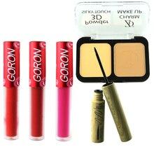 ZD 5Pcs  Makeup Set 2 Colors Contour Bronzing Powder Palette 3 Matte Lip Gloss Black Liquid Eyeliner Kit MP05S