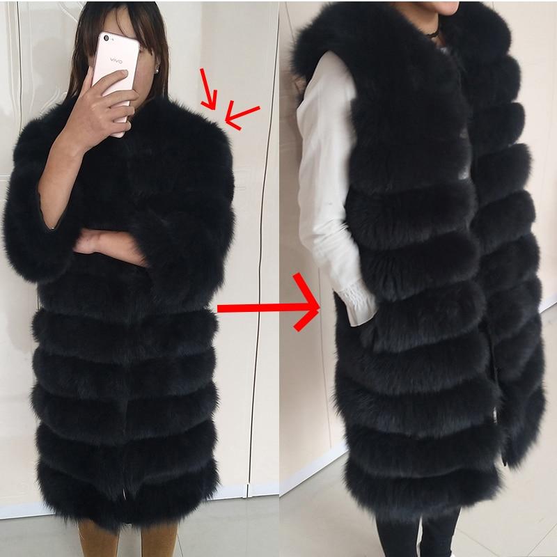 Real Fox Fur Coat Fox Vest Natural Long Suede Knee Shoulder Natural Real Fur Jacket Fur Jacket Women's Winter Warm Fur Coats