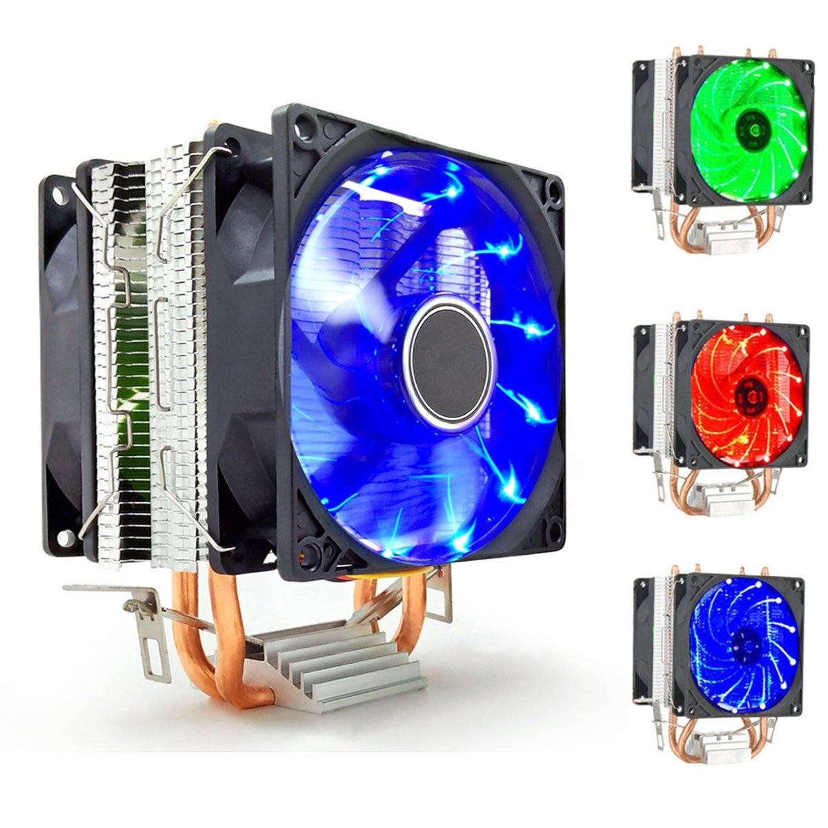 2 Heat Pipe CPU Cooler LED CPU Dual Fan Heatsink Radiator For LGA 1155 775 1156 AMD 12V Dual CPU Cooler Powerful Fan For AMD