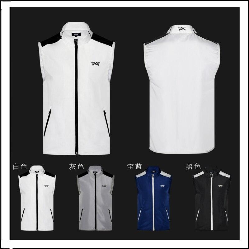 2018Men's Golf jacket Sleeveless Zipper Waistcoat Waterproof Outdoor Sports Jacket Outwear Pocket 5 colors Autumn Slim Golf Vest arm zipper pocket design patched jacket