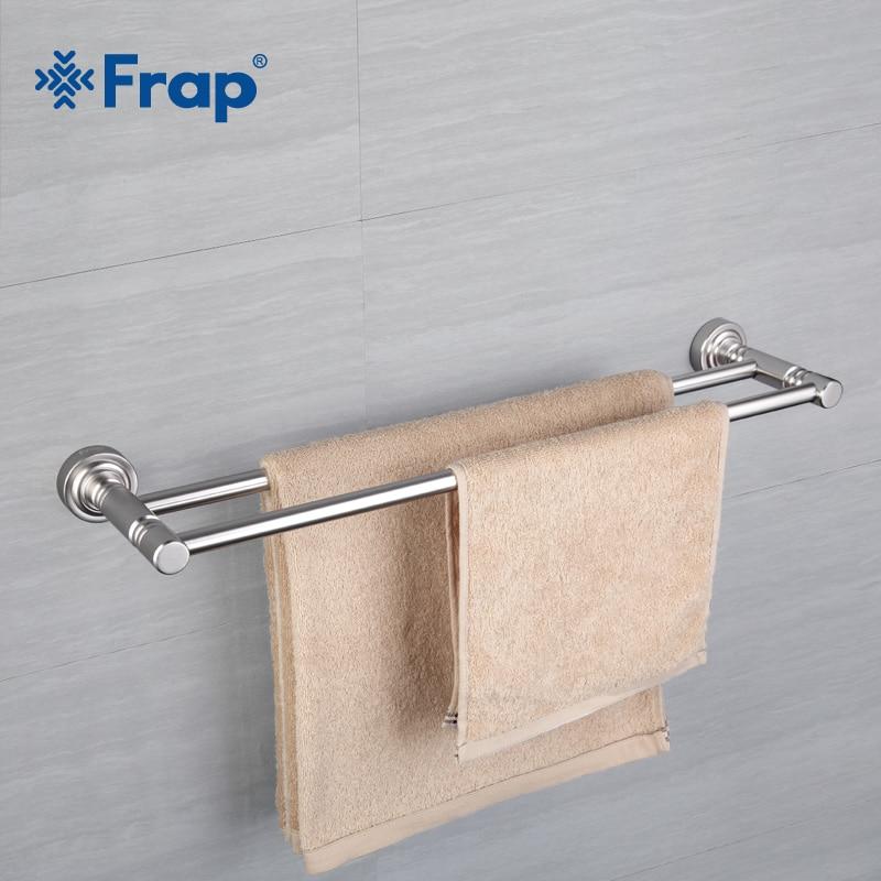 frap silver color wall mounted space aluminum double towel bars bathroom towel hanger bathroom accessories towel